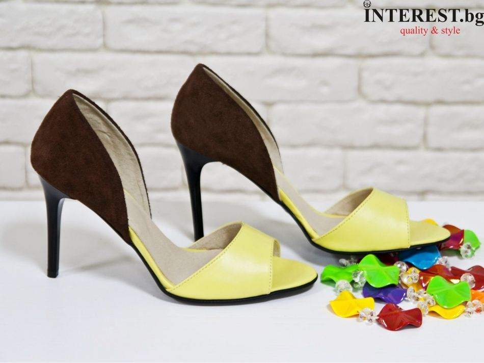 90ede519252 Дамски обувки - Роза - жълта кожа и кафяв велур