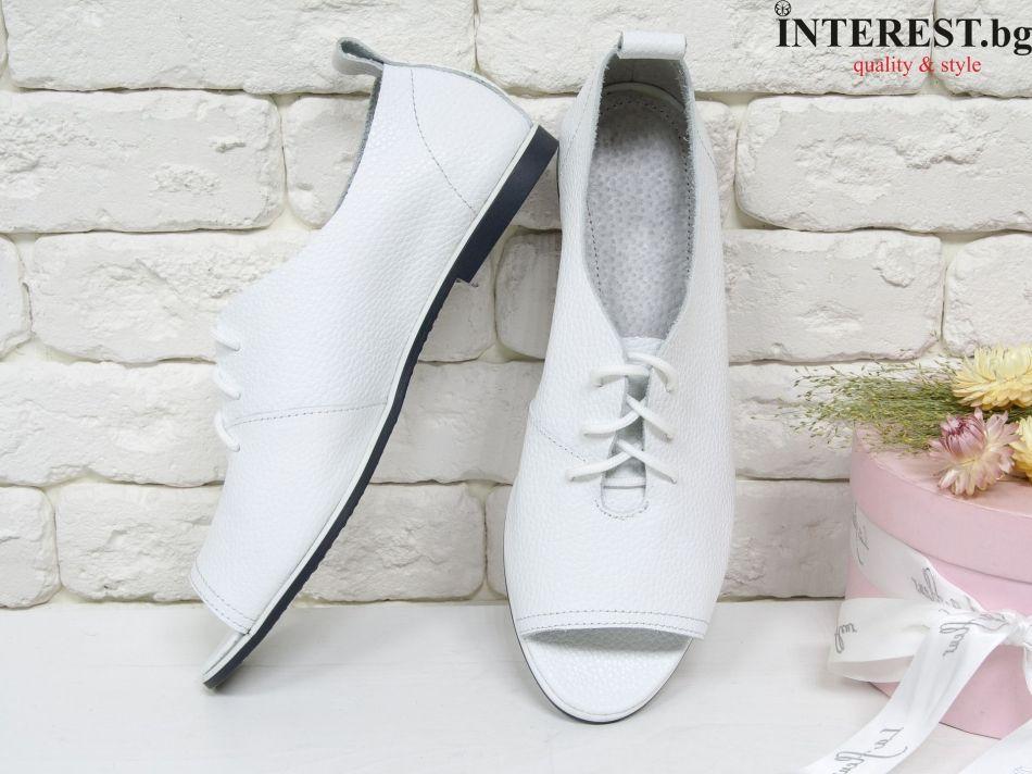 c05eb294491 Дамски обувки - Лантана - бяла кожа с текстура