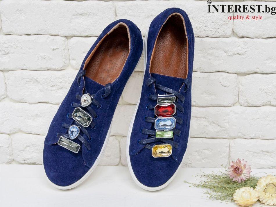fa3ad4f17fa Дамски спортни обувки - Мериана 1- тъмно син велур и камъни