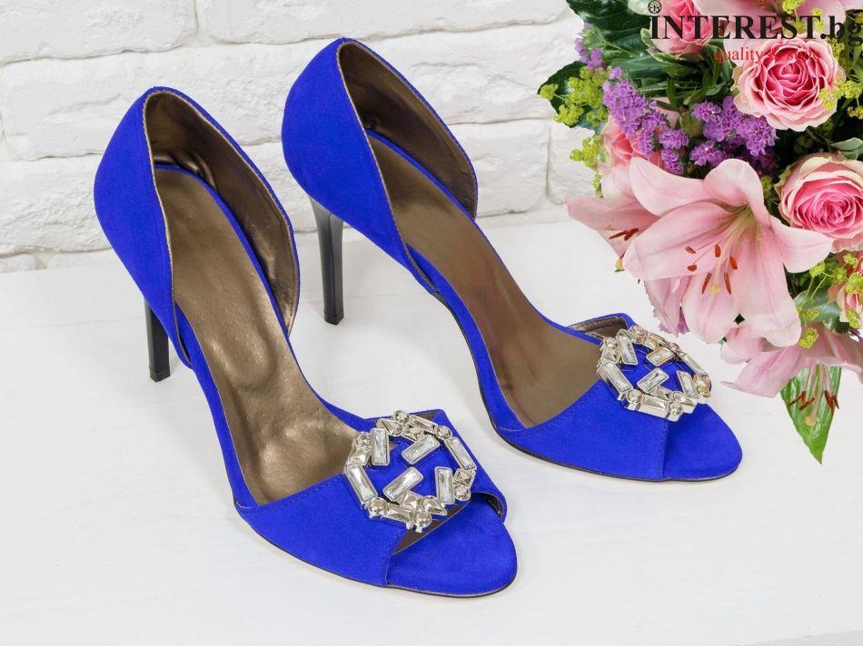 63657e424d8 Дамски обувки - Роза - електриково син велур с камъни