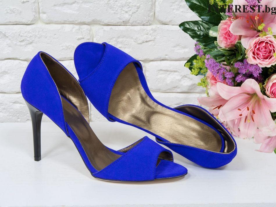 0e6cc6ae706 Дамски обувки - Роза - електриково син велур