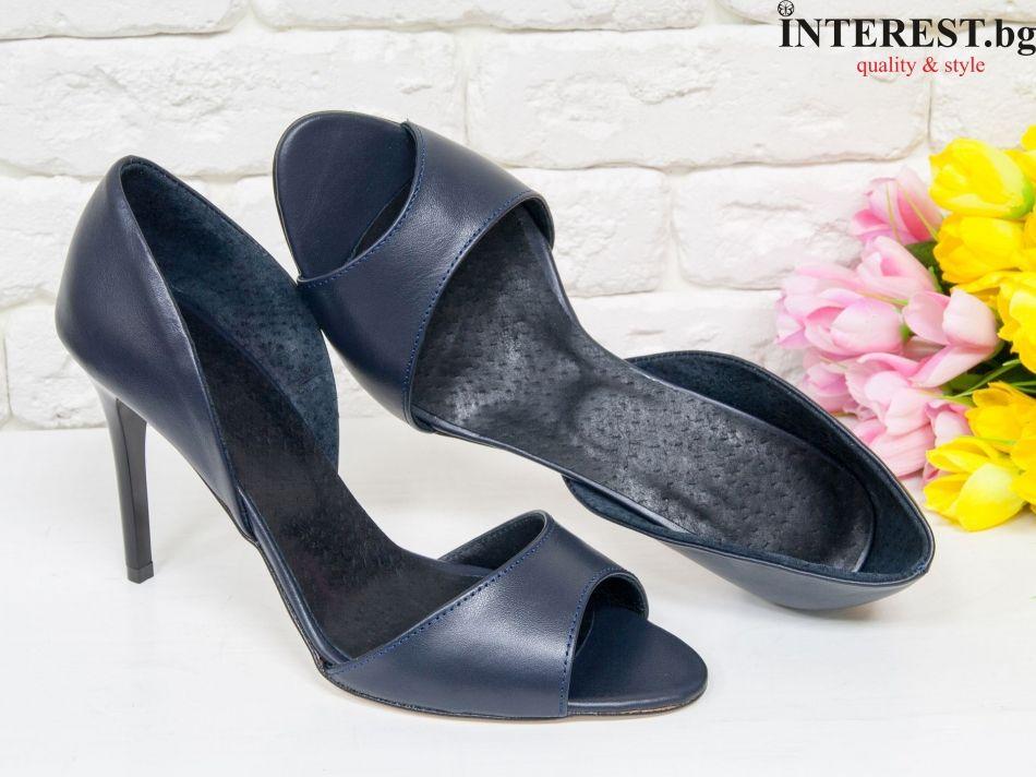 c314d02815b Дамски обувки - Роза - тъмно синьо, тънък ток