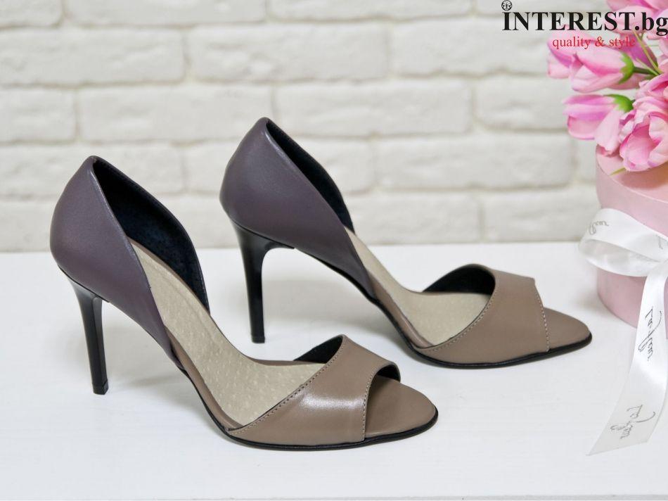 5202ffa18a3 Дамски обувки - Роза - тъмно бежово и лилаво