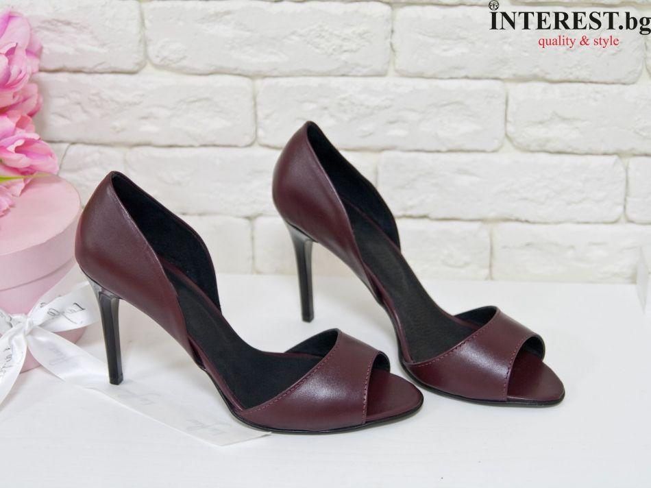 5da0c70a482 Дамски обувки - Роза - бордо кожа, тънък ток