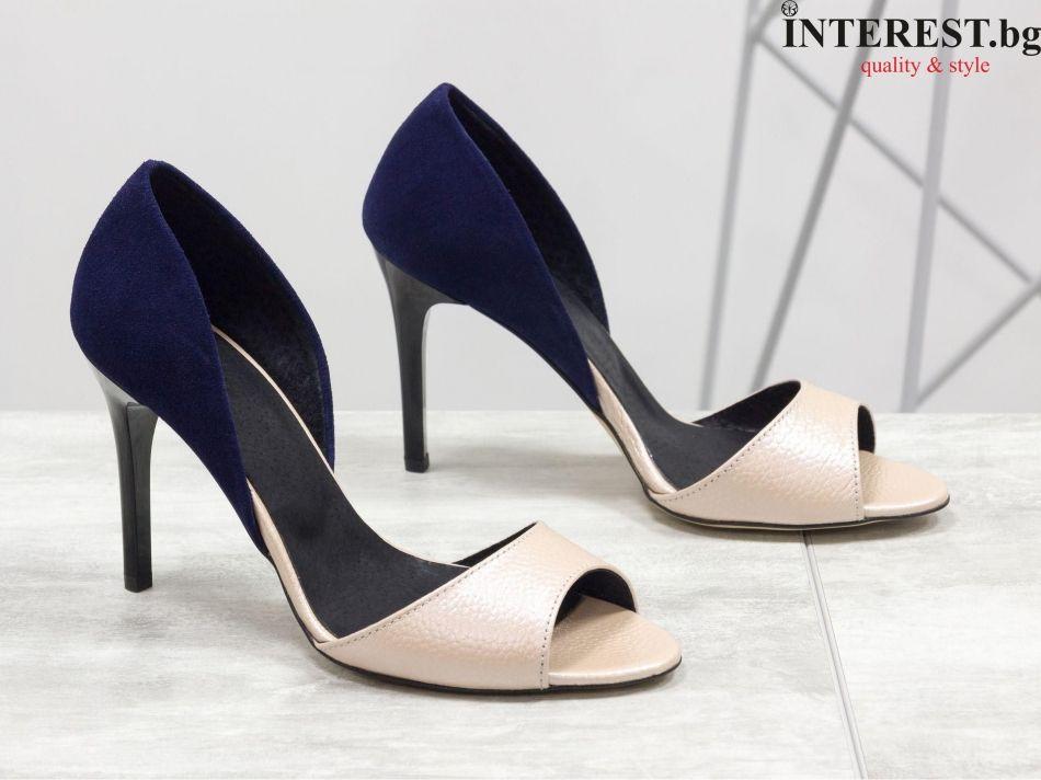 5a32cb5d6e4 Дамски обувки - Роза - нежна розова кожа с перлени отблясъци и тъмно син  велур