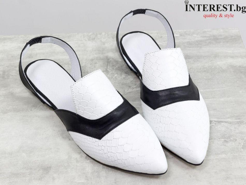 c9b68a7ecc1 Дамски обувки - Оли - бяла кожа с текстура ''питон'' и черна гладка кожа