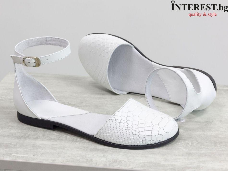 298eb418b83 Дамски обувки - Кармела - бяла гладка кожа и кожа с текстура ''питон''