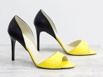 1aa5d79449b Дамски обувки - Роза - ярко жълта кожа и черно