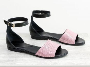 0cf2f765a93 Нов продукт Дамски сандали - Клариса - гладка черна кожа и кожа с текстура  розов ''питон